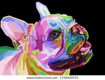 french bulldog on geometric pop