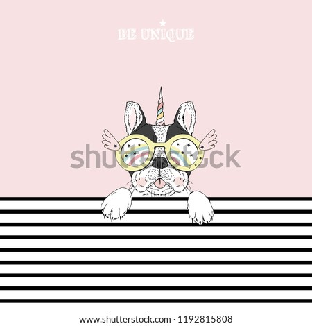 French bulldog puppy portrait wearing bright colored Unicorn accessories. Stripy background. T-shirt print. Hand drawn vector illustration.