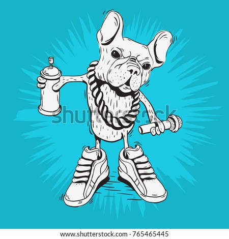 French Bulldog Rap Star With Hip Hop Essentials Like A Graffiti Paint Spray Can Balloon, Precious Metal Chain, Microphone And Sneakers. Sketchy Doodle Line Art Vector Graphic.