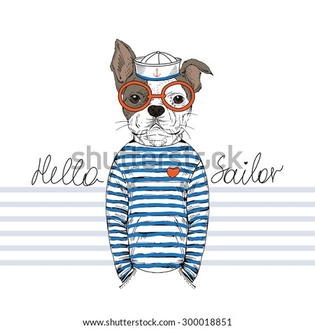 french bulldog sailor  nautical