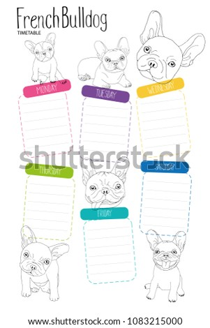 French Bulldog timetable - School timetable template for poster, note, memorypad with doodle illustrations