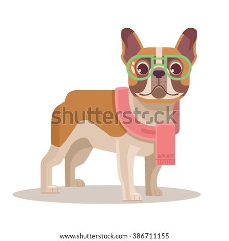 french bulldog vector flat