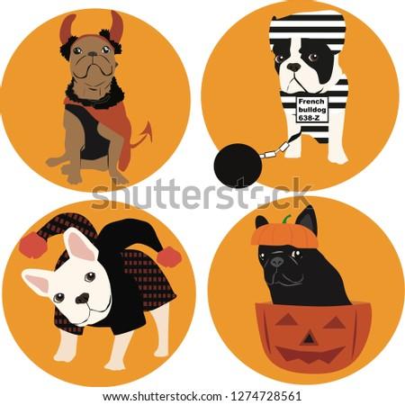 French bulldog vectors, Halloween, Adobe Illustrator, EPS file,  dog character, dog cartoon, illustration, halloween costume, funny dog, pumpkin, evil, clown, prisoner, icons, french bulldog