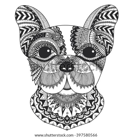 French Bulldog Zentangle Styled With Clean Lines For