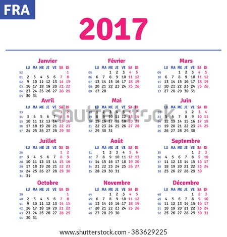 French calendar 2017, horizontal calendar grid, vector
