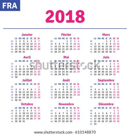 French calendar 2018, horizontal calendar grid, vector
