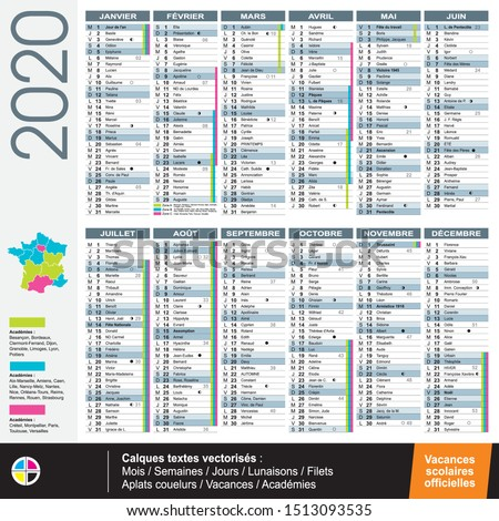 French calendar 2020 with official holidays - Vectorized texts