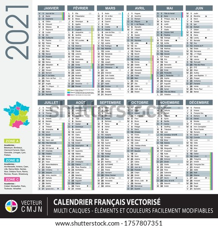 French calendar 2021 with school holidays, names of the saints of the day, lunar cycles. Texts 100% vectorized. Grey neutral color. Multi layers vector. Elements and colors easy to adapt and customize