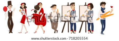 French characters, mimes and artists with cheese, baguette, wine as symbols of France, flat cartoon vector illustration isolated on white background. French people, mimes, artists - symbols of France