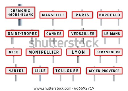 french cities road signs