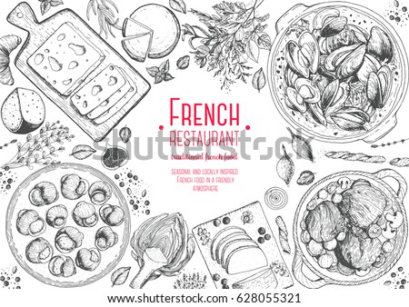 french cuisine top view frame