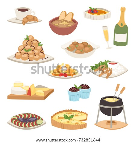 French cuisine traditional food delicious meal healthy dinner lunch continental Frenchman gourmet plate dish vector illustration.