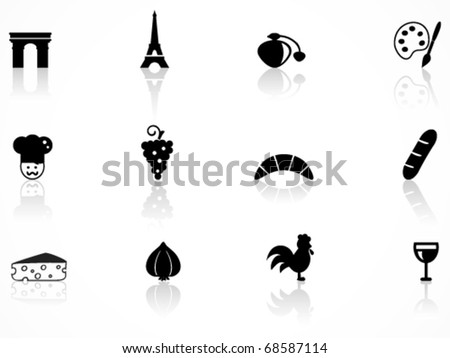 French culture icons set - stock vector
