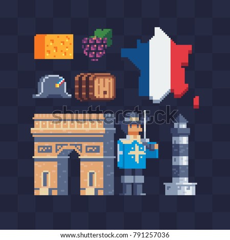 french culture. pixel art icons ...