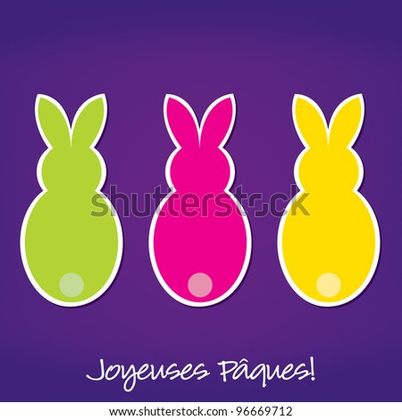French Easter Bunny card in vector format.