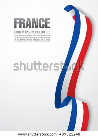 french flag ribbon over white