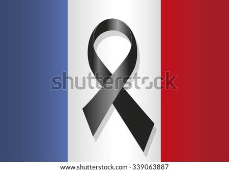 french flag  with a black