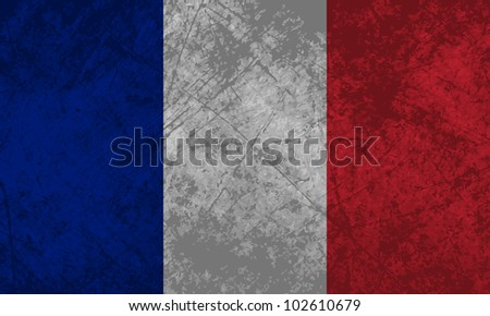French flag with a grunge texture effect.