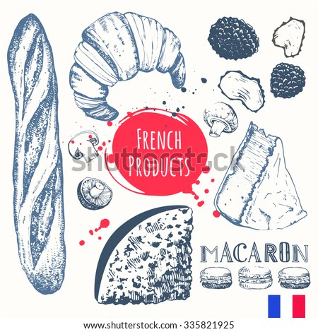 french food in the sketch style
