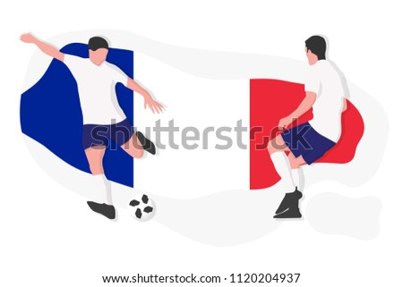 French football team player kicking dribbling 2018 championship vector illustration soccer France