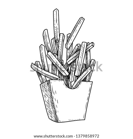 French fries flying to paper box. Sketch style hand drawn illustration. Fried potato. Fast food retro artwork. Vector image Isolated on white.