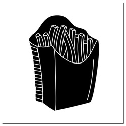 French fries glyph icon.Disposable paper box with fried potato.Take away.Fast Food Packaging. Filled flat sign. Isolated silhouette vector illustration