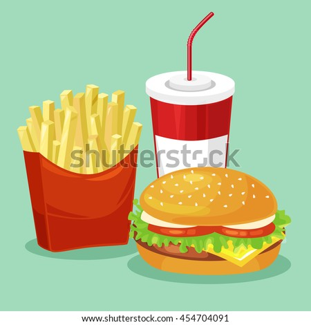 french fries  hamburger and