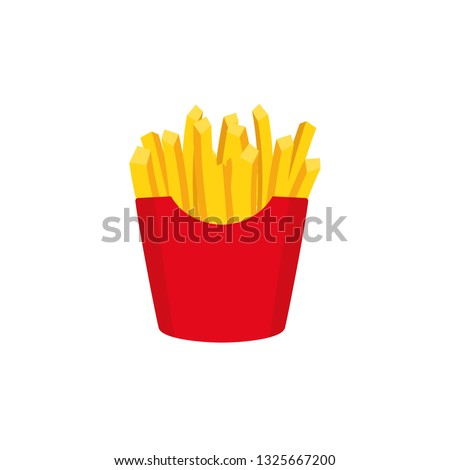 French fries illustration. Isolated on white. Fast food. Vector