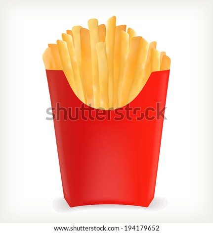 french fries in a red package