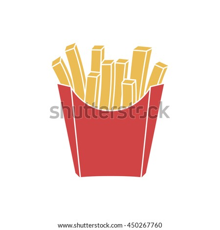 french fries in paper red box