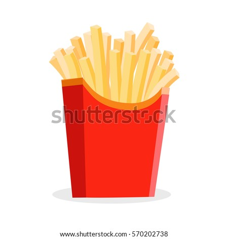 french fries isolated at the