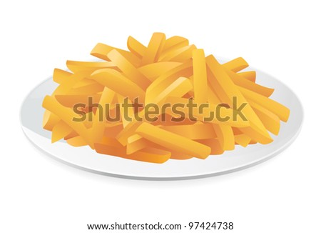 french fries on a plate vector