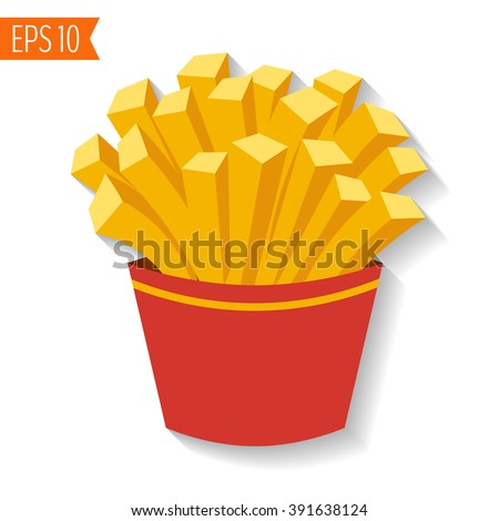 french fries potato in red