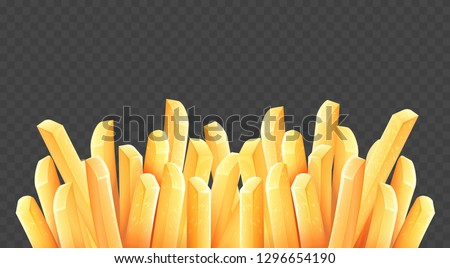 French fries. Roasted potato chips in deep fat fry oil potatoes. Yellow sticks. Fastfood. Unhealthy tasty food. Horizontal banner, isolated on dark transparent background. Eps10 vector illustration.