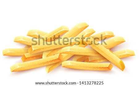 French fries. Roasted potato chips in deep fat fry oil potatoes. Yellow sticks. Fastfood. Unhealthy tasty food. Horizontal banner, isolated on white background. Eps10 vector illustration.