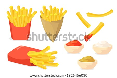 French fries set. Potato sticks in paper cones, ketchup, mayo, mustard sauces isolated on white. Vector illustration for fast food snack, street food concept