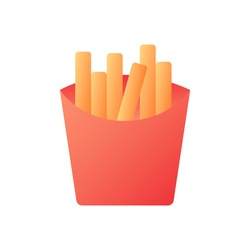 French fries vector flat color icon. Fried potatoes in carton box. Take out meal. Take away menu. Fast food delivery. Cartoon style clip art for mobile app. Isolated RGB illustration