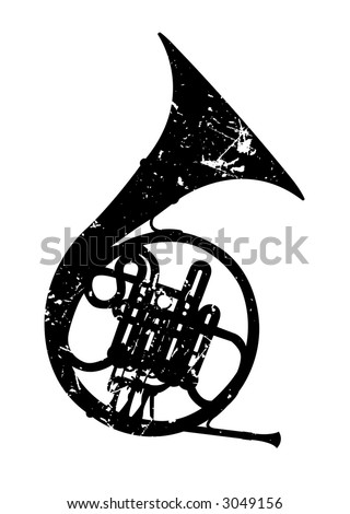 french horn - stock vector