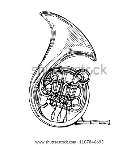 French horn music instrument hand drawn line art stock vector illustration design for coloring book page