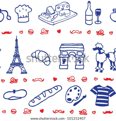stock vector : French icon symbol seamless pattern