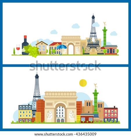 french landmarks vector travel