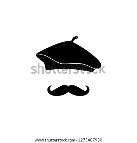 French man in beret, with mustache vector icon.