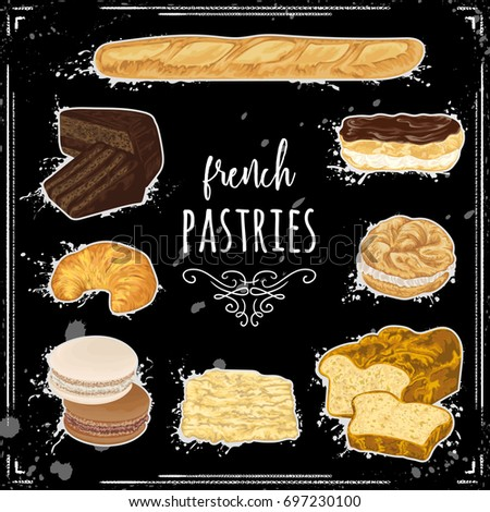 french pastries collection on