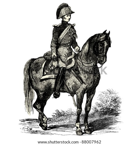 """French policeman - Vintage engraved illustration - """"Les Francais"""" by L.Curmer in 1842 France"""