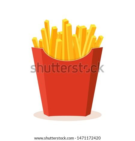 French potato pack box. Cartoon fastfood fry potato isolated illustration. Photo stock ©