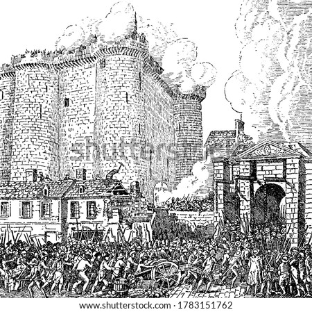 French revolution where prisoners of Bastille were released, vintage line drawing or engraving illustration. Сток-фото ©