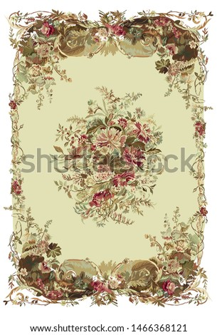 french rug, carpet, roses, floral, antique, ornament, hand drawing, french frames, vintage