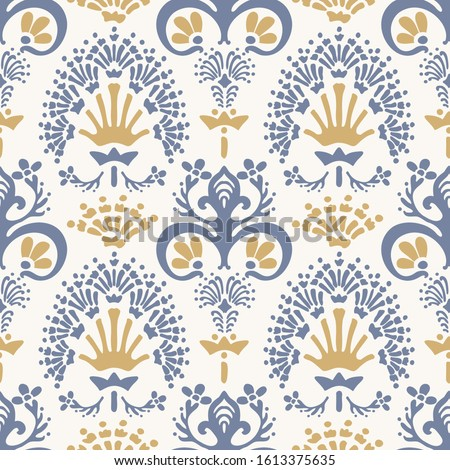 French shabby chic damask vector texture background. Antique white yellow blue flourish seamless pattern. Hand drawn floral interior wallpaper home decor swatch. Classic baroque style all over print ストックフォト ©