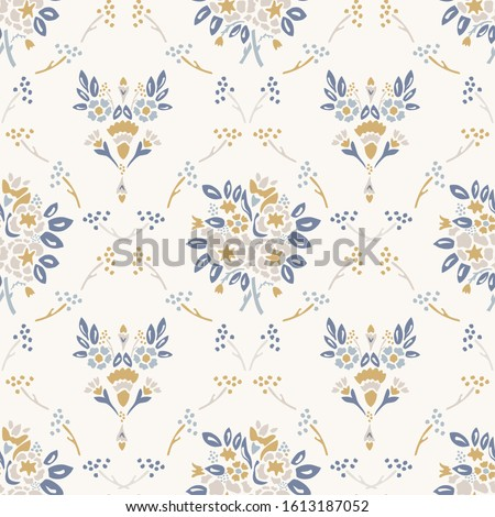 French shabby chic damask vector texture background. Dainty flower bouquet off white seamless pattern. Hand drawn floral interior home decor wallpaper. Classic cottage farmhouse style all over print Stockfoto ©