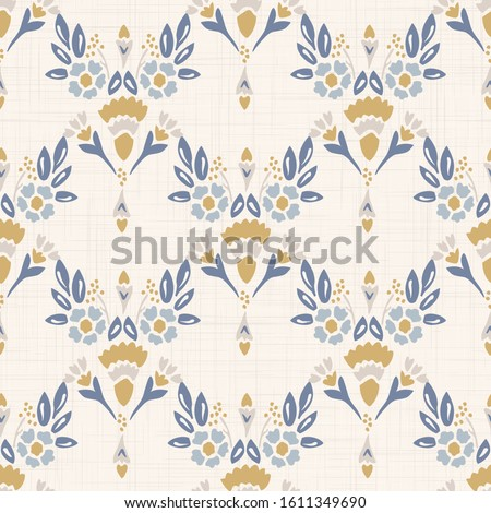 French shabby chic damask vector texture background. Dainty flower in blue and yellow on off white seamless pattern. Hand drawn floral interior home decor swatch. Classic farmouse style all over print Stockfoto ©